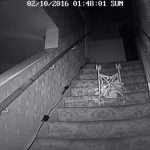 Has film of buggy falling down stairs finally captured notorious poltergeist known as The Black Monk in action?