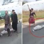Body falls out of coffin during funeral procession as shocked mourners watch in horror